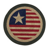"Americana Original Flag 15.5"" Round Braided Jute Chair Pad 49-CH1032"