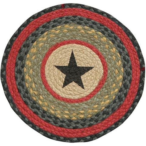 "Black Star II 15.5"" Round Braided Jute Chair Pad 49-CH238S"