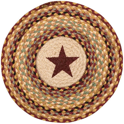 "Burgundy Star 15.5"" Round Braided Jute Chair Pad 49-CH357BS"
