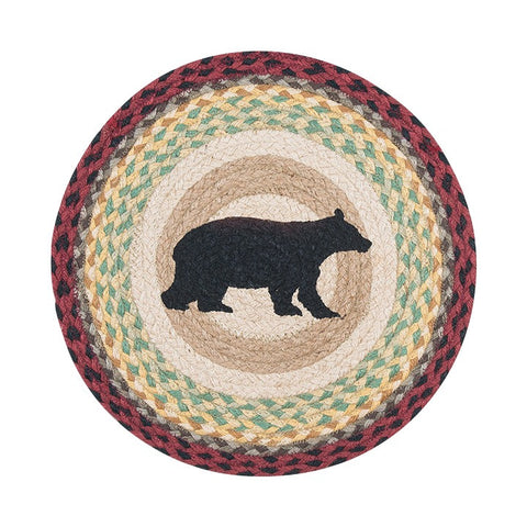 "Cabin Bear 15.5"" Round Braided Jute Chair Pad 49-CH395CB"