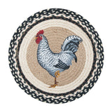 "Black and White Rooster 15.5"" Round Braided Jute Chair Pad 49-CH430R"