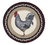 "Black and White Rooster 15.5"" Round Braided Jute Chair Pad 49-CH602BWR"