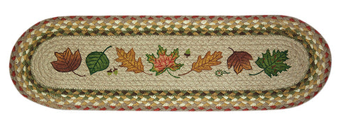 Autumn Leaves Oval Braided Jute Stair Tread 49-ST024AL