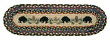 Black Bears Oval Braided Jute Stair Tread 49-ST043BB