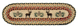 Deer and Pinecones Oval Braided Jute Stair Tread 49-ST057DP