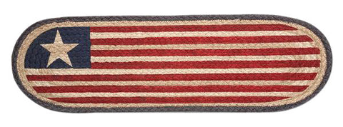 Americana Flag Oval Braided Jute Stair Tread 49-ST1032