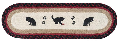 Cat and Kitten Silhouettes Oval Braided Jute Stair Tread 49-ST238CK