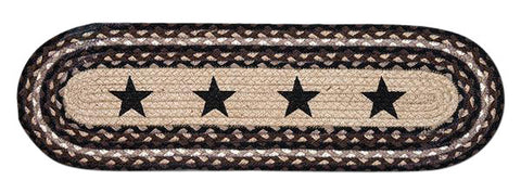 Black Stars III Oval Braided Jute Stair Tread 49-ST313BS