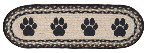 Paw Prints Oval Braided Jute Stair Tread 49-ST313PP