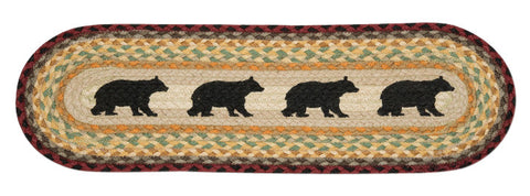 Cabin Bear Silhouettes Oval Braided Jute Stair Tread 49-ST395CB