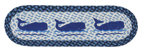 Blue Whales Oval Braided Jute Stair Tread 49-ST443W