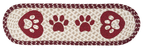 Heart Paws Oval Braided Jute Stair Tread 49-ST9-117HP