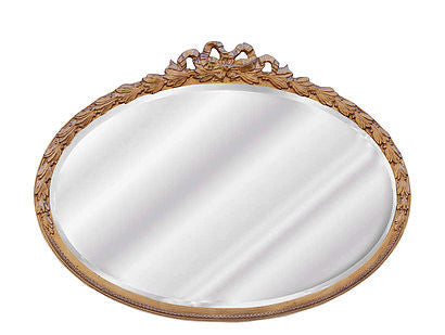 Laurel Leaf Oval Wall Mirror Antique Reproduction in Gold Leaf Color Finish