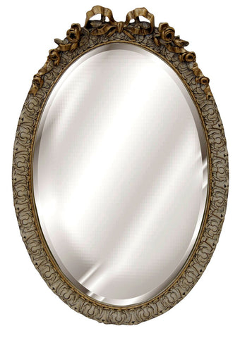 Classic Ribbon Bow Top Oval Mirror Antique Reproduction in Verona Color Finish