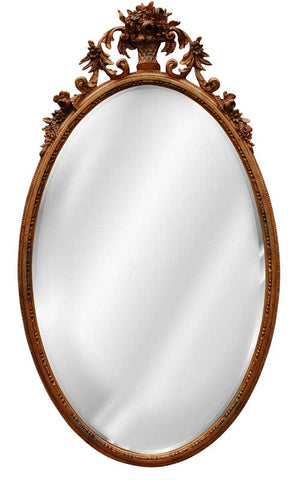 Flower Basket Oval Wall Mirror Antique Reproduction in 60 Colors