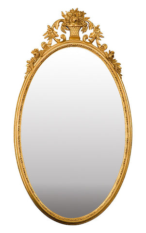 Flower Basket Oval Wall Mirror Antique Reproduction, Gold Leaf Color Finish