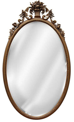 Flower Basket Oval Wall Mirror Antique Reproduction, Antique Gold Color Finish