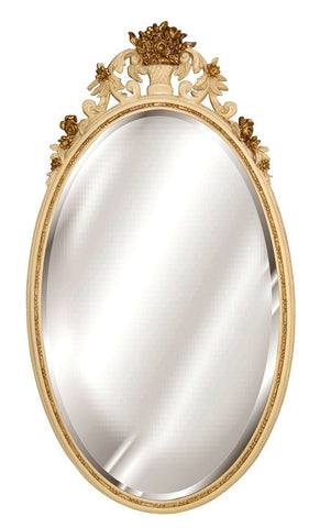 Flower Basket Oval Wall Mirror Antique Reproduction, Ivory Gold Color Finish