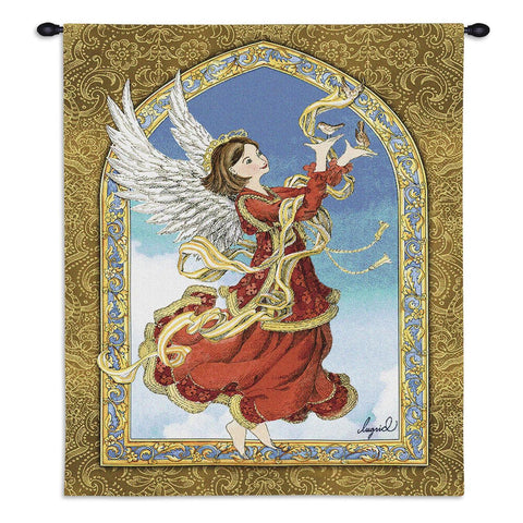 Angel Holding Birds Art Tapestry Wall Hanging