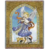 Angel and Cats Art Tapestry Throw