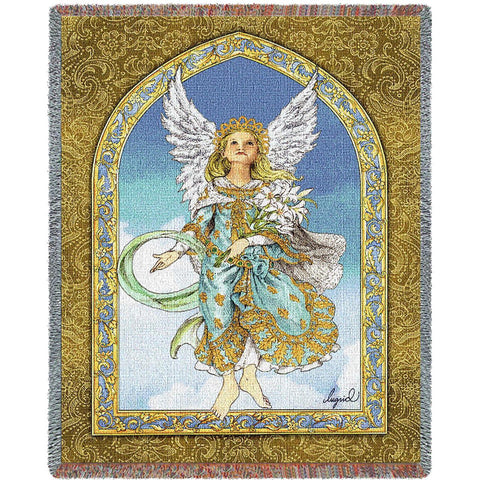 Angel Holding Flowers Art Tapestry Throw