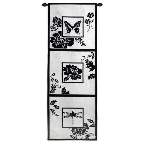 Black and White Silhouette Collage Art Tapestry Wall Hanging