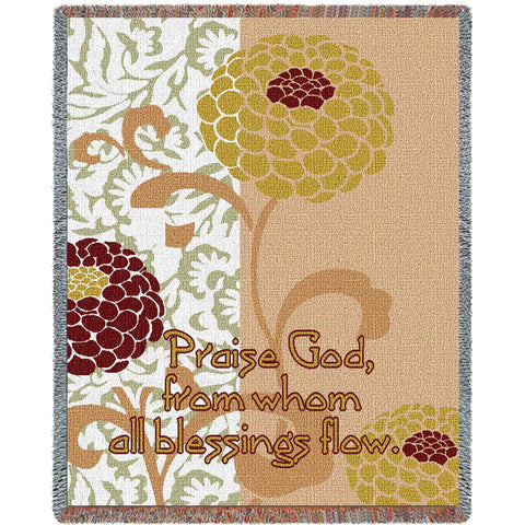 Chrysanthemums with Scripture Art Tapestry Throw