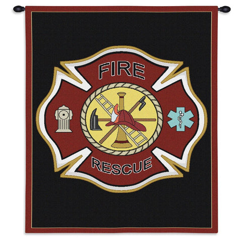 Fire Rescue Firefighter Shield Art Tapestry Wall Hanging
