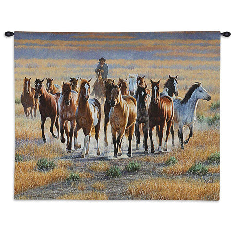 Cowboy Bringing In A Band Of Wild Horses Art Tapestry Wall Hanging