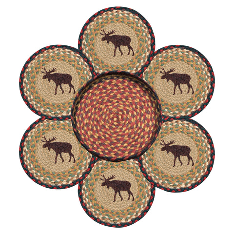Moose Round Braided Jute Trivets in a Basket 7-Piece Set 56-019M