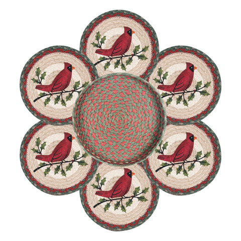 Red Cardinal on Holly Branch Round Braided Jute Trivets in a Basket 7-Piece Set 56-025HC