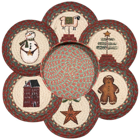 Winter Patch Round Braided Jute Trivets in a Basket 7-Piece Set 56-1120