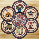 Summer Patch Round Braided Jute Trivets in a Basket 7-Piece Set 56-1127