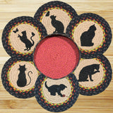 Black Cat Silhouette Round Braided Jute Trivets in a Basket 7-Piece Set 56-238C