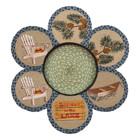 Welcome To The Lake Round Braided Jute Trivets in a Basket 7-Piece Set 56-378WL