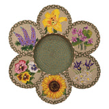 Flowers Round Braided Jute Trivets in a Basket 7-Piece Set 56-399F