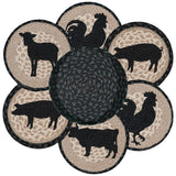 Barnyard Animals Round Braided Jute Trivets in a Basket 7-Piece Set 56-459BA