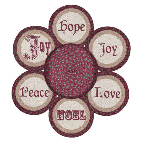 Christmas Words Round Braided Jute Trivets in a Basket 7-Piece Set 56-535C