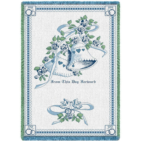 Matrimony Art Tapestry Throw, Blue