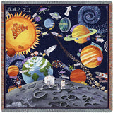 Whimsical Solar System Art Tapestry Lap Throw