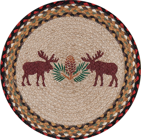 "Moose and Pinecone 15"" Round Braided Jute Placemat 57-019MP"