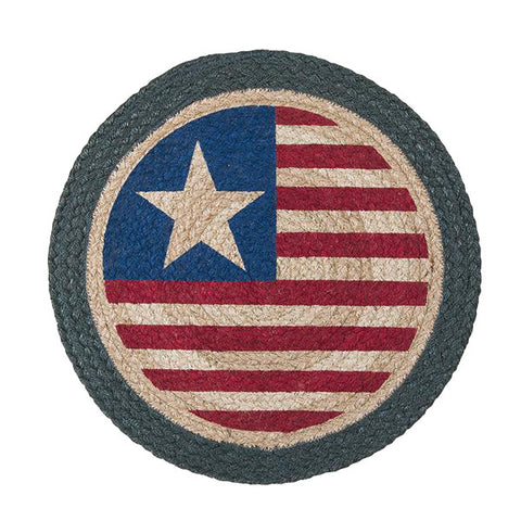 "Americana Original Flag 15"" Round Braided Jute Placemat 57-1032"
