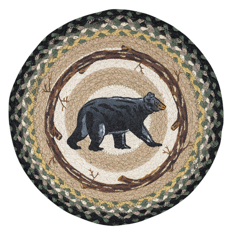 "Mama Bear 15"" Round Braided Jute Placemat 57-116MB"