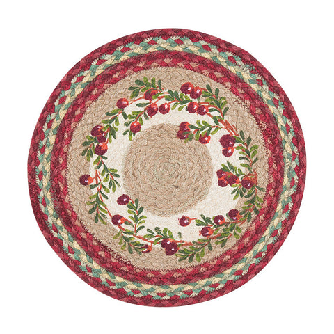"Cranberries 15"" Round Braided Jute Placemat 57-390C"
