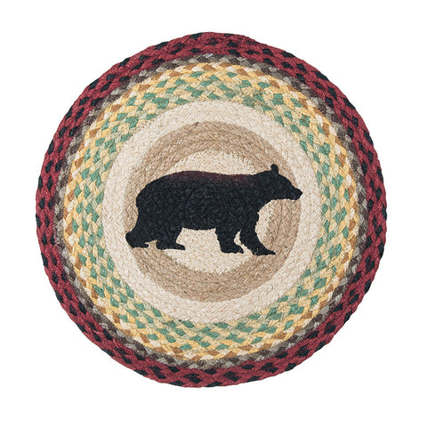 "Cabin Bear 15"" Round Braided Jute Placemat 57-395CB"
