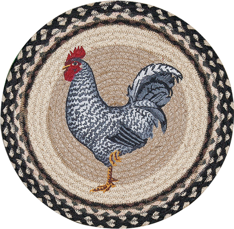 "Black and White Rooster 15"" Round Braided Jute Placemat 57-430R"