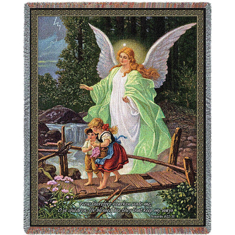 Guardian Angel Classic With Scripture Art Tapestry Throw Impressive Guardian Angel Throw Blanket