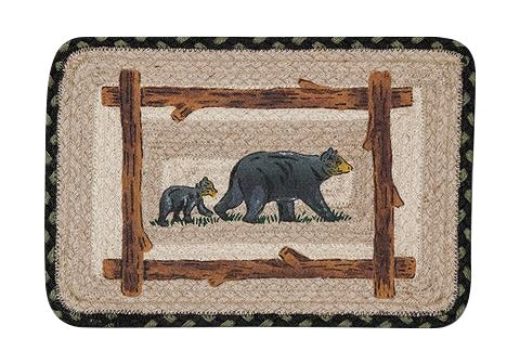 "Mama and Baby Bear 10""x15"" Oblong Jute Placemat/Swatch/Trivet 59-SW116MB"