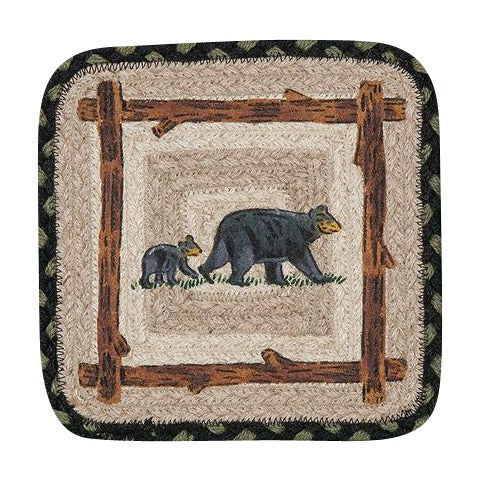 Mama and Baby Bear Oblong Jute Trivet 59-TV116MB