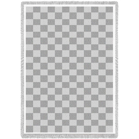 Classic Check Art Tapestry Throw, White/Natural